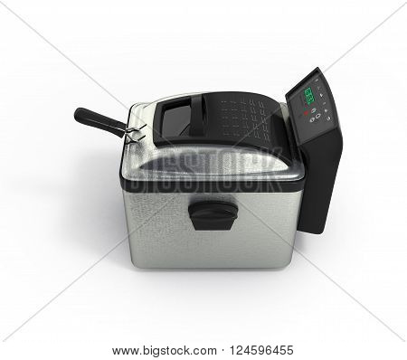 3D Ilustration Of Modern Steel Deep Fryer Isolated On White Background