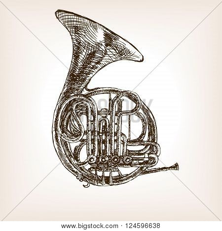 French horn sketch style vector illustration. Old engraving imitation. Musical instrument hand drawn sketch imitation