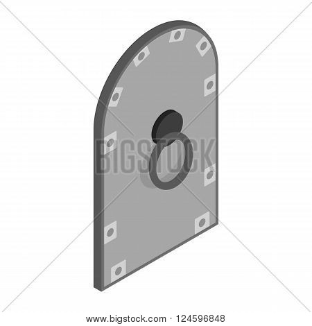 Arched medieval steel door icon in isometric 3d style isolated on white background
