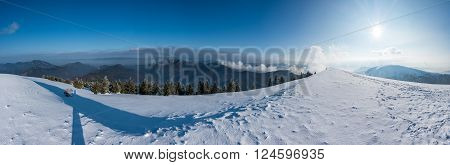 Panorama Of Sunny Winter Mountains