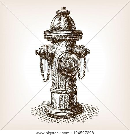 Vintage fire hydrant sketch style vector illustration. Old hand drawn engraving imitation. Vintage object illustration