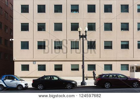 WASHINGTON D.C., USA - Mar 31, 2016: Streets and architecture of Washington DC. Washington is the capital of the United States
