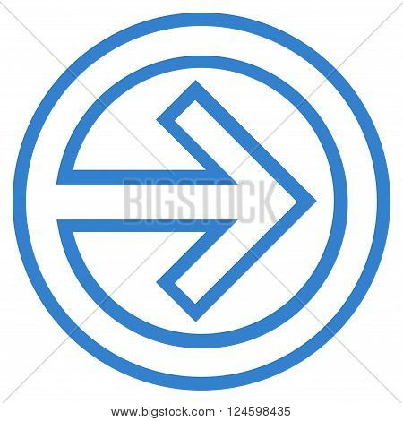 Import vector icon. Style is outline icon symbol, cobalt color, white background.