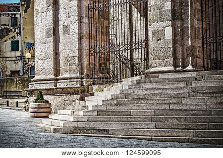 San Nicola cathedral stairs in Sassari Italy