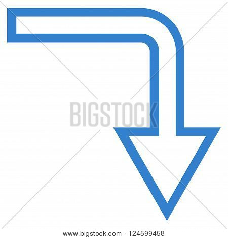 Turn Down vector icon. Style is stroke icon symbol, cobalt color, white background.