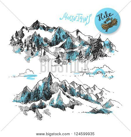Mountains sketch, contours of the mountains engraving style, hand drawn vector illustration
