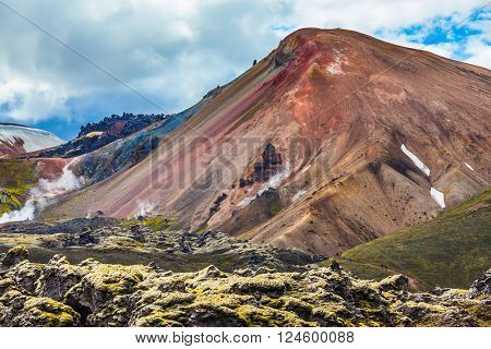 Travel to Iceland in the summer. National park Landmannalaugar. Multi-color rhyolitic mountains are lit with the July sun