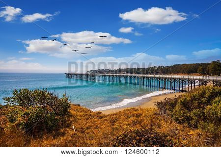 Wooden pier far out to sea. Pacific Coast Highway and sandy coastline