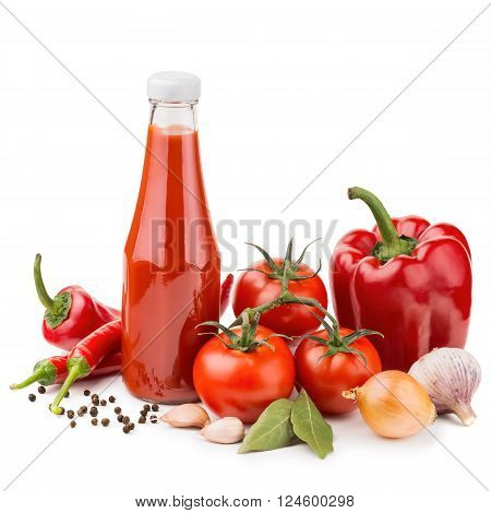 Bottle of ketchup and raw ingredients isolated on white background