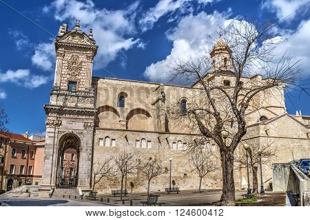 San Nicola cathedral in Sassari side view Italy