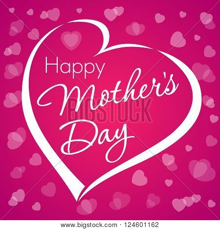 Happy mother's day lettering love. Happy mother's day typographical design with heart violet background