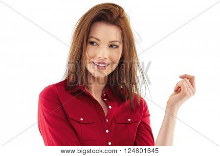 Happy woman isolated over white background