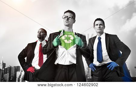 Recycle Reuse Superhero Achievement Conquering Concept