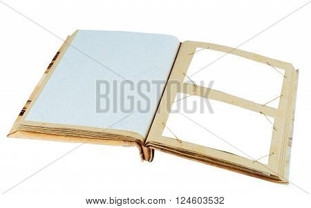Vintage photo album cardboard deployed page. Isolated on white background.