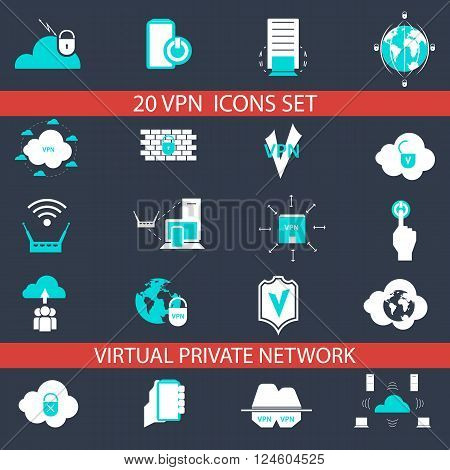 VEB set of icons for virtual private networks. Signs and symbols for web development.