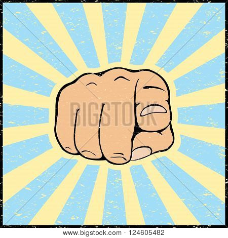 Hand with pointing finger on grunge background, illustration.