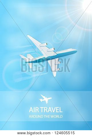 Flying plane and vapor trail in the blue sky, air travel background, illustration.