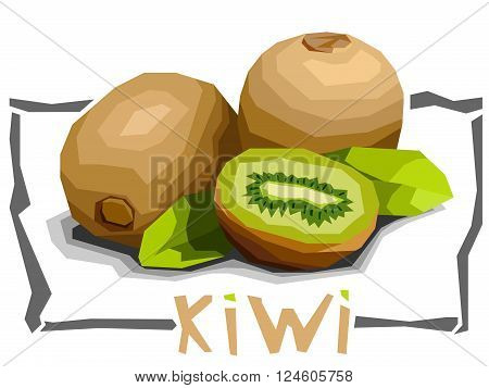 Vector simple illustration of kiwi with half in angular cartoon style.