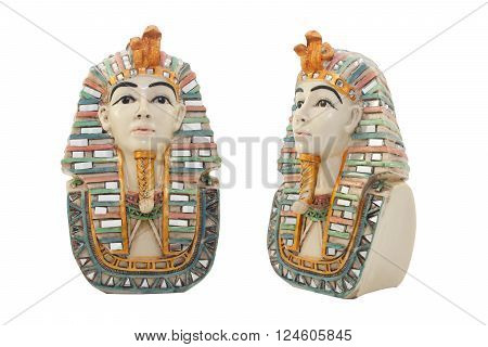 Isolated egyptian pharaoh porcelain bust with color elements profile & front view.
