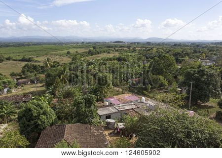 Manaca Iznaga Cuba - January 2 2016: view of the Valle de Los Ingenios from tower