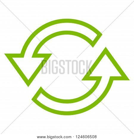 Sync Arrows vector icon. Style is outline icon symbol, eco green color, white background.