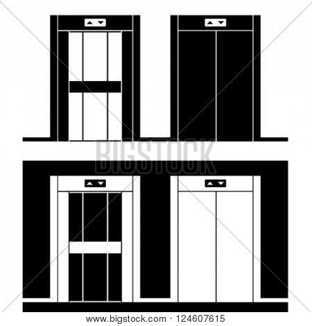 vector modern elevator black symbols