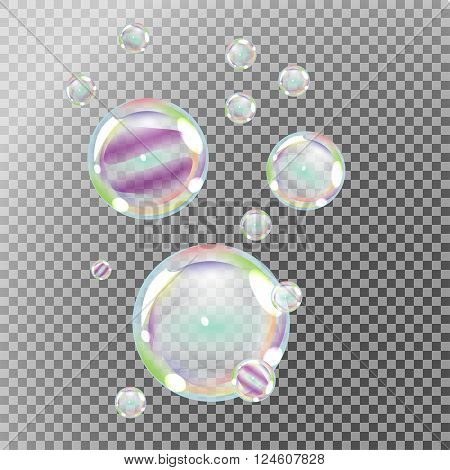 Soap bubbles with rainbow reflection on transparent background vector
