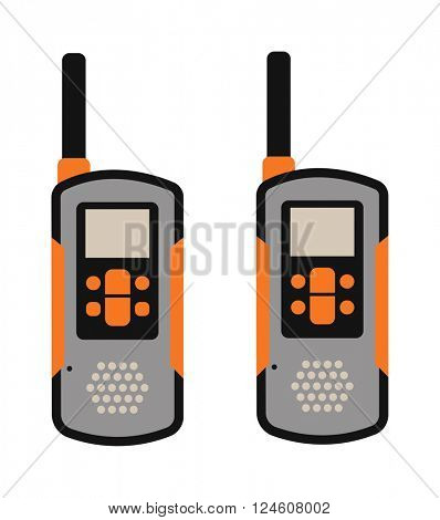 Portable radio transmitter on a white background vector illustration.