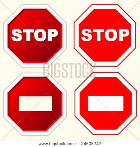 STOP Red octagonal stop sign for prohibited activities with white inscription vector