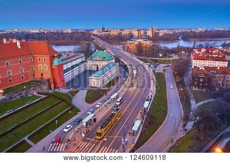 Panoramic view of Warsaw at sunset, Warsaw, Poland