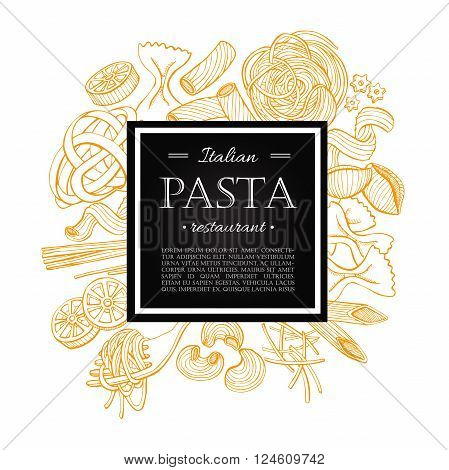 Vector vintage italian pasta restaurant illustration. Hand drawn banner. Great for menu banner flyer card business promote.