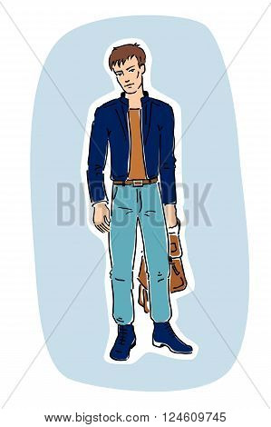 Vector illustration of a young fashionable handsome guy standing and holding a bag in his hand. Blue background. Freehand drawing.