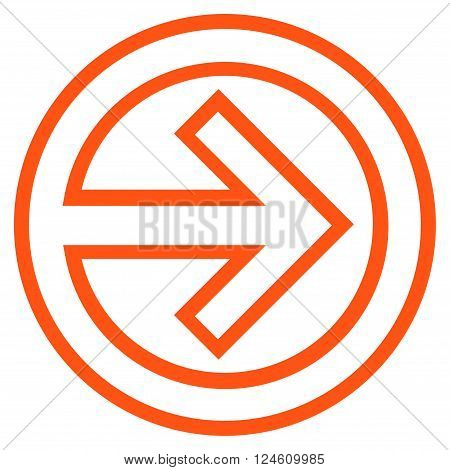 Import vector icon. Style is stroke icon symbol, orange color, white background.
