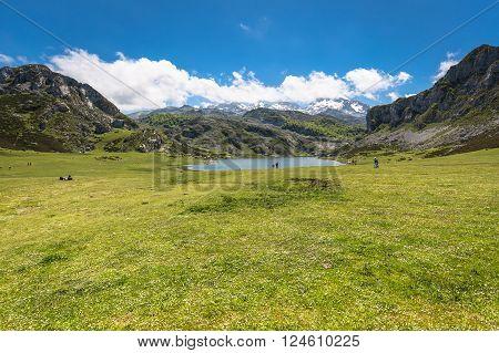 Lake Ercina. Cantabrian. Covadonga. Asturias. Spain .