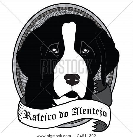 Vintage Rafeiro do Alentejo Portrait. Emblem of a Dog in Black and White