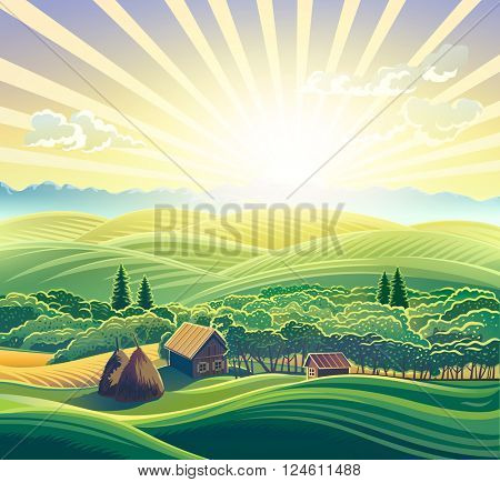 Countryside landscape, with houses.