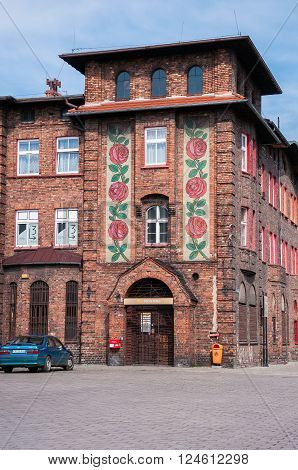 Katowice Poland - March 28 2016: Decorated post office building in Nikiszowiec district - historic coal miners settlement in Katowice