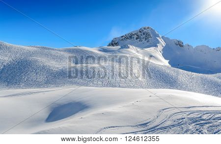 Zugspitze Ski Resort In Bavarian Alps, Germany