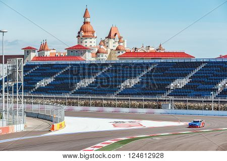 Sochi Russia - May 11 2015: Training free races of the high speed car on the autodrom.