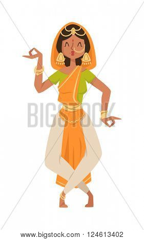 Indian dancer bollywood traditional party culture vector.
