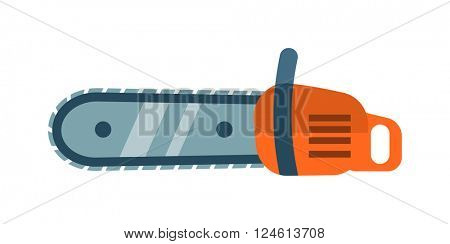 Hand saw chainsaw flat vector isolated on white background