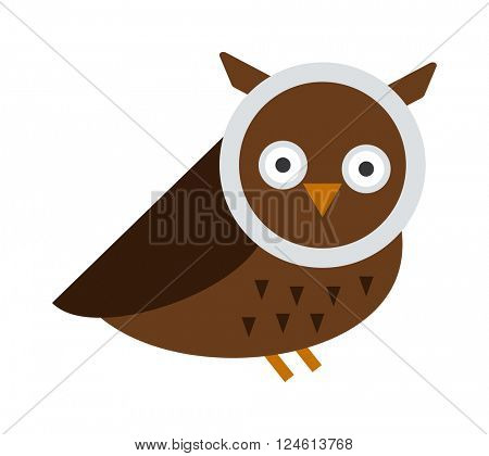 Great horned Owl, bubo virginianus subarcticus flat cartoon wildlife nature bird vector illustration.