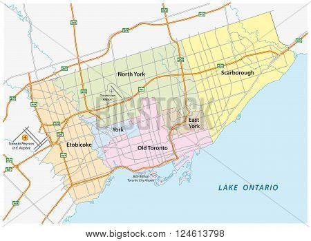 a toronto (Canada) road and administrative map
