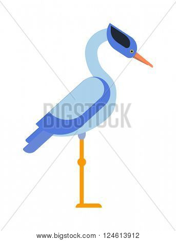 Stork standing and flying sarus crane grus  cartoon cute animal lovely bird vector.