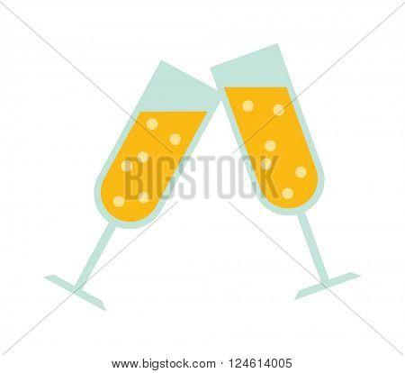 Champagne glass vector illustration.
