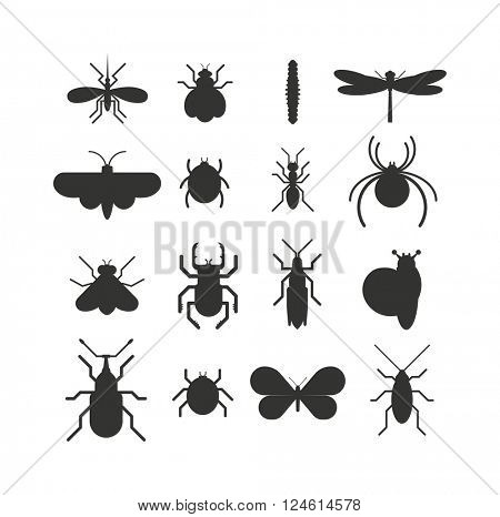 Insect icon black silhouette  flat set isolated on white background.