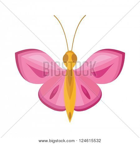 Colored Pink cartoon butterfly vector isolated on white background.