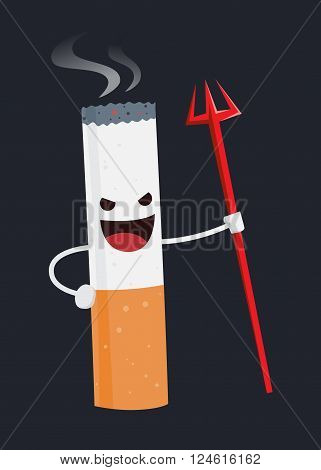 Vector illustration of an evil cigarette cartoon character holding a trident