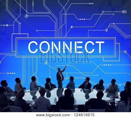 Connect Social Networking Contact Interconnection Technology Concept