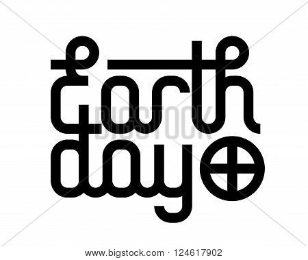 Vector short phrase Earth Day. Black and white. Eps8